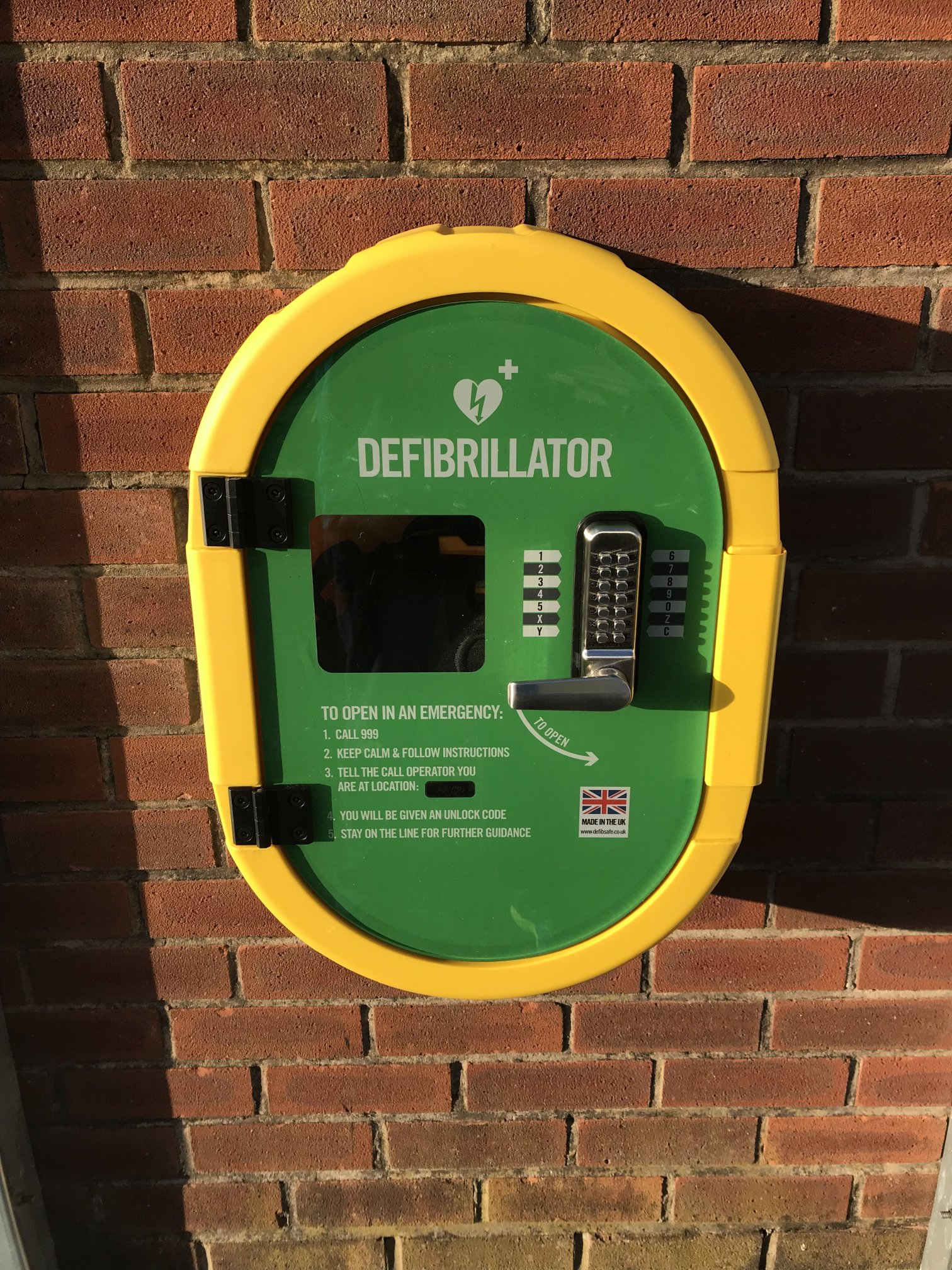 Defibrillator now installed